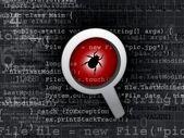 Virus bug in program code — Stock Photo