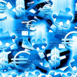 Money blue background — Stock Photo