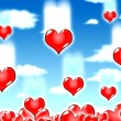 Love hearts blue sky — Stock Photo