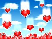 Love hearts blue sky — Stock Photo