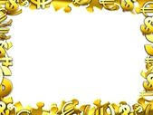 Money gold concept illustartion border frame isolated on white — Stock Photo
