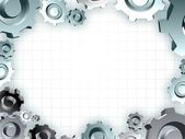 Gears frame industrial technic border — Stock Photo