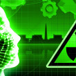 Green radioactivity nuclear power plant - Foto Stock