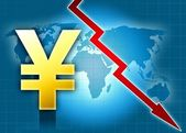 Yen currency crisis world map — Stock Photo