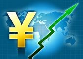 Yen value grow world — Stock Photo