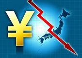 Yen japan crisis decreasing value — Stockfoto