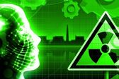 Green radioactivity nuclear power plant — Stock Photo