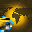 Colorful credit cards and world map — Stockfoto