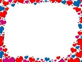 Colorful hearts border frame card — Stock Photo