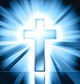 Blue christian cross symbol — Stock Photo