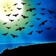 horror vleermuizen volle maan achtergrond — Stockfoto