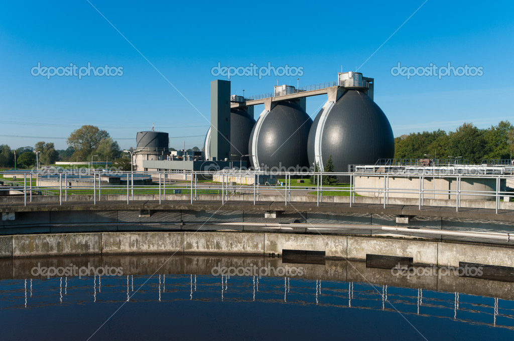 Sludge digestion installation on a waste water plant. Here is methane produced and used for the energy supply for the plant — Stock Photo #7757547