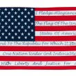 Stock Photo: AmericFlag With Pledge Of Allegiance