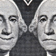 Stock Photo: George Washington Dollar Bill then and Now