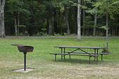 Stół piknikowy i grill na campingu state park — Zdjęcie stockowe
