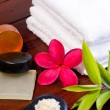Spa concept with zen stone, bath salt, soap and a red flower — Stock Photo
