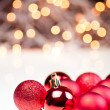 Red Christmas baubles — Stock Photo #7667640