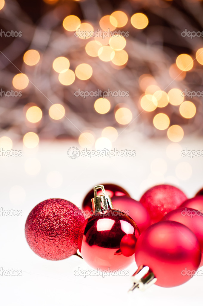 Three different red Christmas baubles — Stock Photo #7667640