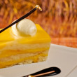Stock Photo: French custard cake with chocolate stick and edible gold leaf