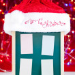 Christmas notice board with santa hat — Stock Photo