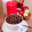 Christmas cup of coffee beans — Stock Photo #7775231