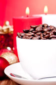 Christmas coffee beans in a cup close up — Stock Photo