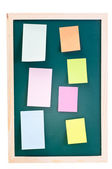 Chalk board with sticky notes — Stok fotoğraf