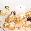 Gold Christmas concept on snow — Lizenzfreies Foto