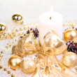 Gold Christmas concept on snow — Stock Photo