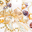 Gold Christmas  theme on snow — Foto Stock