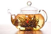 Цветущий зеленый чай в чайнике стекла — Стоковое фото