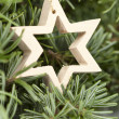 Wood star Christmas decoration — Stock Photo