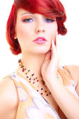 Portrait of red hair woman, girl, female model - beauty makeup - head shot — Stock Photo