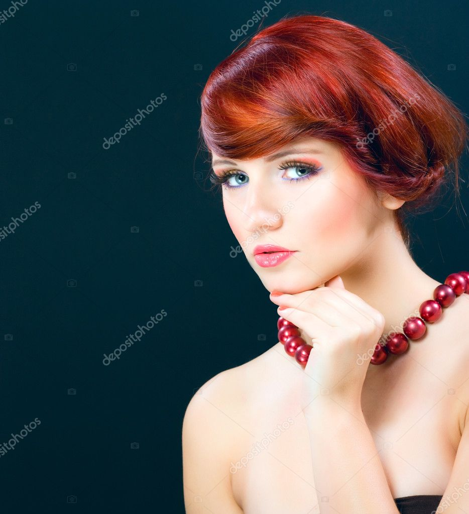 Portraiture of beautiful young female model woman with empty space for text, made in studio on dark background  — Stock Photo #7620861