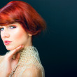 Glamour portrait of beautiful young red hair female model woman face — Stock Photo