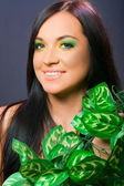 Makeup, head shot, portrait of dark hair female model - beauty woman girl — Stock Photo
