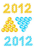 Text 2012, new year, digits made with balls, blue and yellow versions — Stock Photo