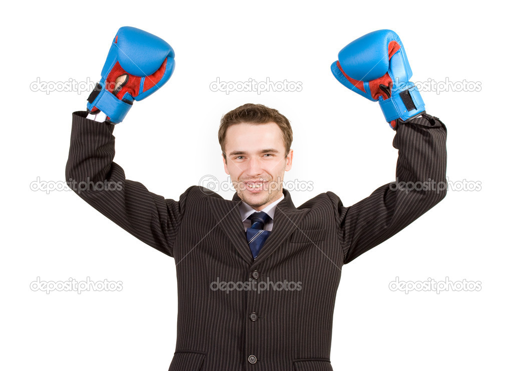 Man businessman in suit and gloves, hands up success gesture - studio shot isolated on white background  Stock Photo #7862846