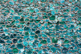 Blue green color mosaic glass pebbles texture pattern background — Stock Photo