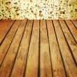 Scratched wall and wooden floor - crime style background — Stock Photo