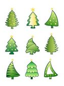 Christmas tree collection set vector — Stock Vector