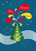 Postcard abstract New Year's tree.Postcard. — Stock Vector
