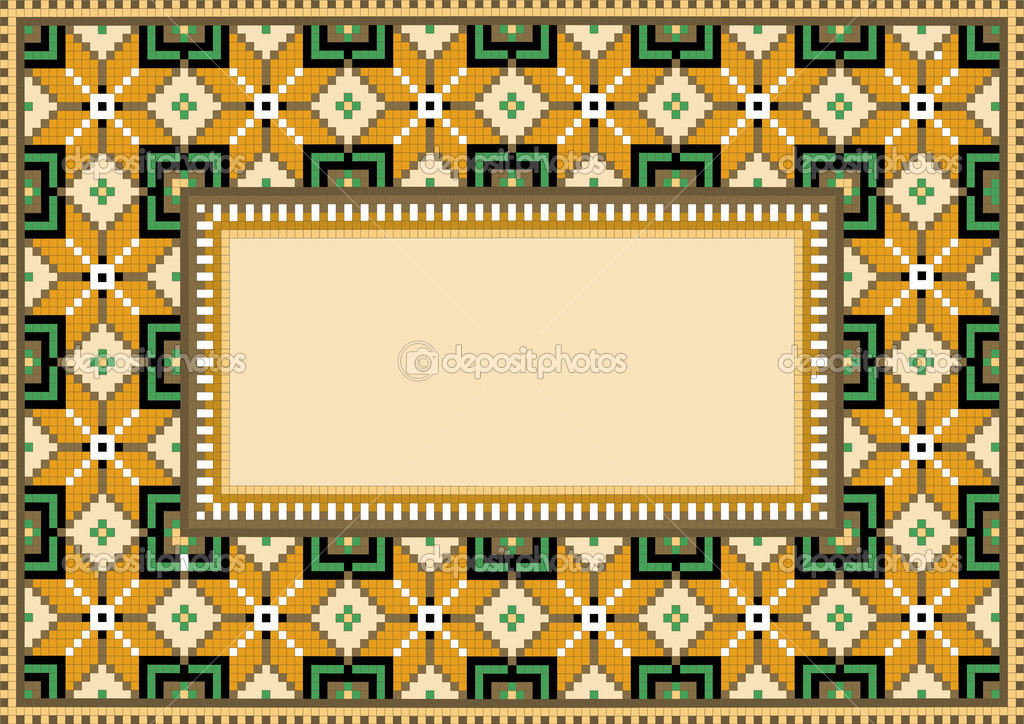 The composition of ancient geometric pattern for a carpet.Rug.Background. — Stock Vector #7606441