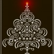 Openwork Christmas tree on a dark background.Card — Stock Vector