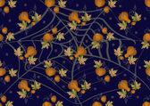 Las calabazas y las hojas sobre un fondo oscuro. fondo. — Vector de stock
