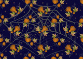 Pumpkins and leaves on a dark background. Background. — Vecteur