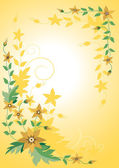 Corner,the frame of yellow flowers.Banner.Background. — Stock Vector