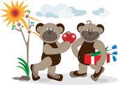 Bear is a declaration of love. Illustration. — Stock Vector
