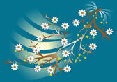 White flowers blooming branch on blue background.Background.Wallpaper. — Stockvektor
