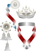Graceful attributes for the royal heraldry.Heraldry. — Stock Vector
